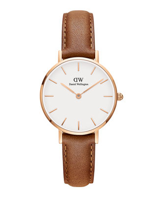 28Mm Classic Petite Durham Watch W/ Leather Strap in Light Brown/ White/ Rose Gold