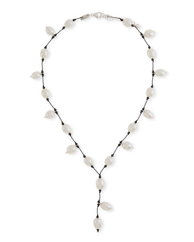 Pearl & Crystal Y-Drop Necklace
