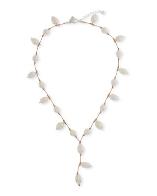 MARGO MORRISON Pearl & Crystal Y-Drop Necklace in White/Brown
