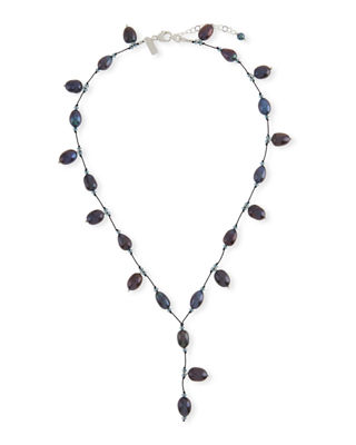 MARGO MORRISON Pearl & Crystal Y-Drop Necklace in Blue/Black