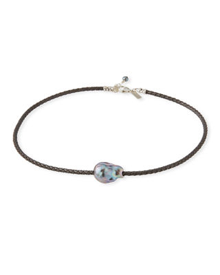 MARGO MORRISON Single Pearl & Woven Leather Necklace in Gray