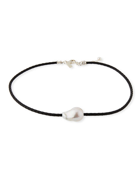 Margo Morrison Single Pearl & Woven Leather Necklace