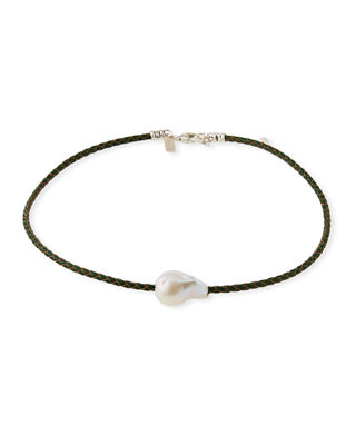 MARGO MORRISON Single Pearl & Woven Leather Necklace in White/Green