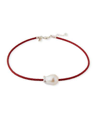 Single Pearl & Woven Leather Necklace