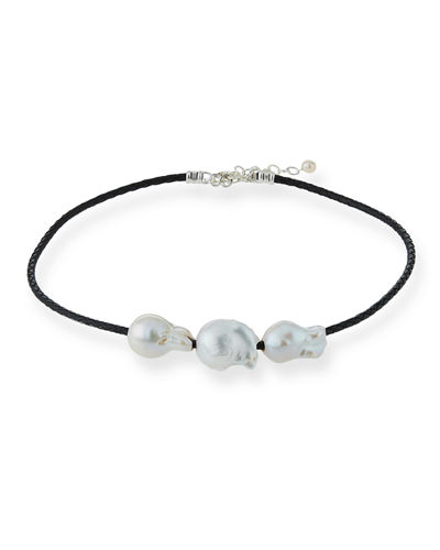 Triple Pearl & Woven Leather Necklace