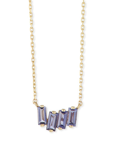 14k Gold Pink Topaz Fireworks Necklace