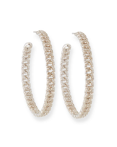 Pave Curb Chain Hoop Earrings