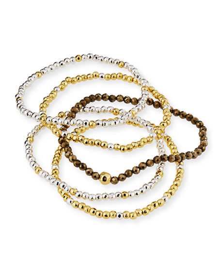 Image 3 of 5: gorjana Acacia Delicate Mixed Bracelets, Set of 5