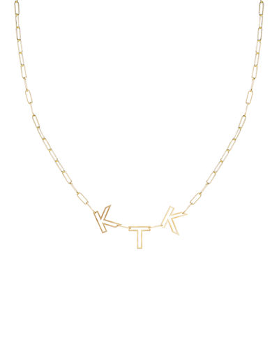 14k Gold Chain Letter Necklace, 3 Letters