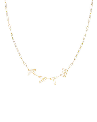14k Gold Chain Letter Necklace, 4 Letters