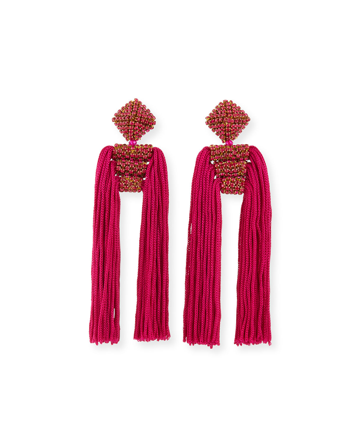 Dupio Crystal & Tassel Drop Earrings