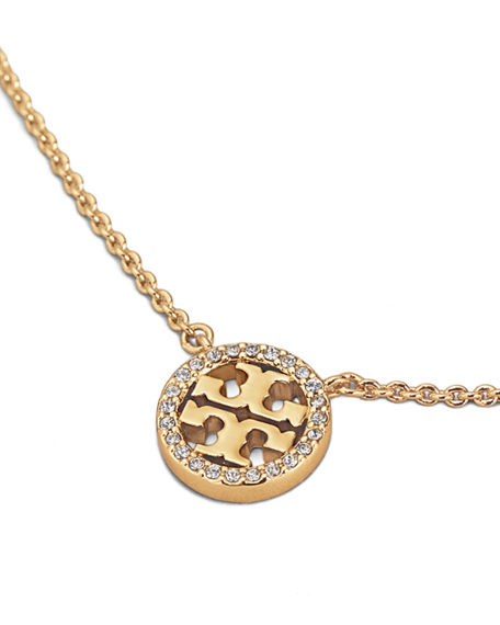 Image 2 of 2: Tory Burch Delicate Crystal Logo Pendant Necklace
