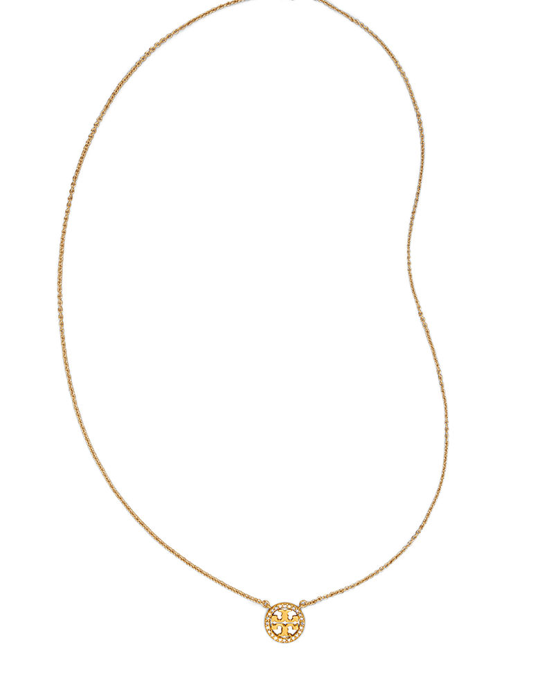Tory Burch Delicate Crystal Logo Pendant Necklace