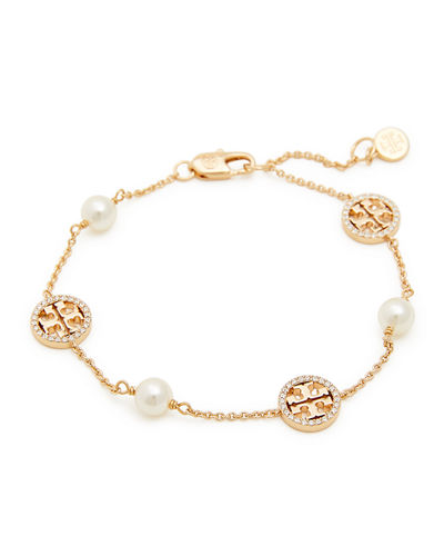 Crystal & Pearly Delicate Logo Bracelet