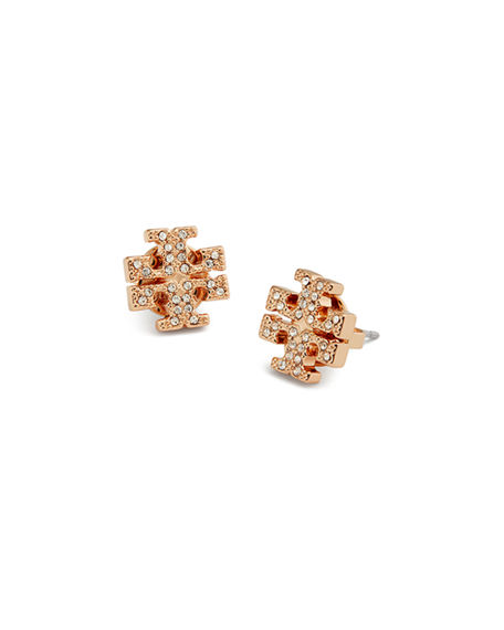 Tory Burch Crystal Logo Stud Earrings