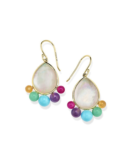 Ippolita Accessories NOVA 18K GOLD TURQUOISE PEAR DROP EARRINGS