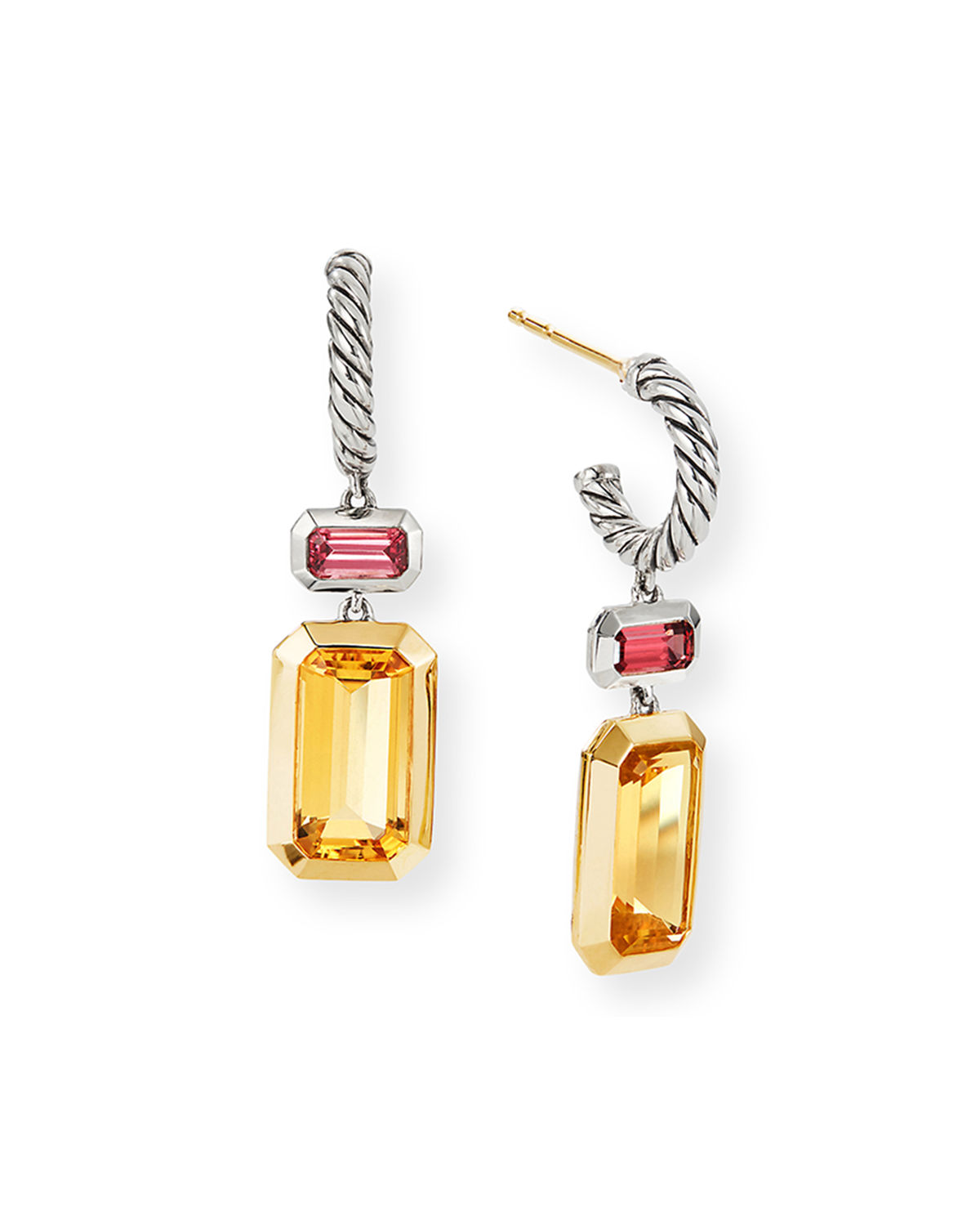 David Yurman Accessories NOVELLA 2-STONE & 18K GOLD DROP EARRINGS