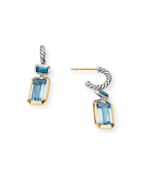 Image 2 of 3: David Yurman Novella 2-Stone & 18k Gold Drop Earrings