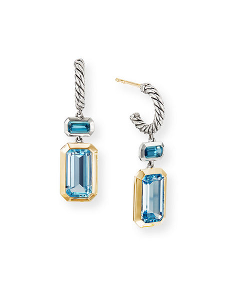 Image 1 of 3: David Yurman Novella 2-Stone & 18k Gold Drop Earrings