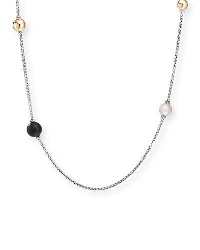 Solari XL Chain Necklace w/ Pearls & Turquoise/Onyx