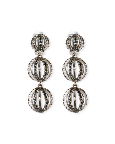Globe Triple-Drop Earrings w/ Pave