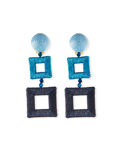 Silk-Wrapped Double-Square Clip-On Earrings