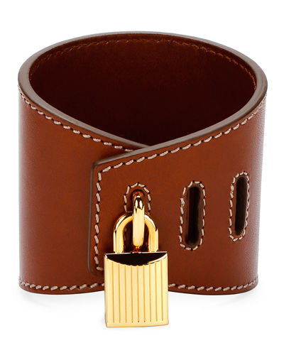Large Lock Leather Cuff Bracelet