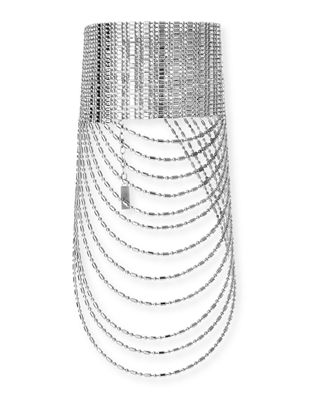 AUDEN Leighton Layered Chain Collar Necklace in Silver