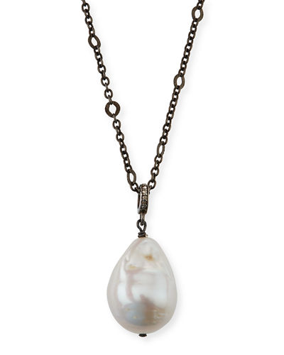 Baroque Pearl Pendant Necklace w/ Diamonds