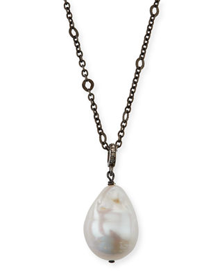 Japanese Cultured Pearl Diamonte Black Cord Jewellery 925 Sterling Silver White Baroque Pearl Pendant Necklace