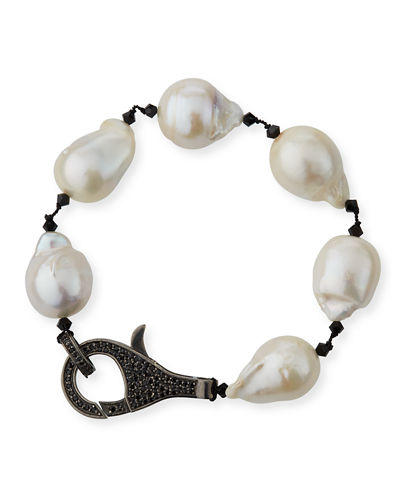 Peacock Baroque Pearl & Spinel Clasp Bracelet