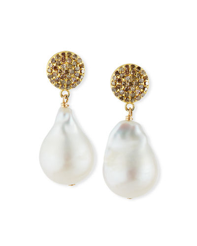 Diamond & Baroque Pearl Drop Earrings