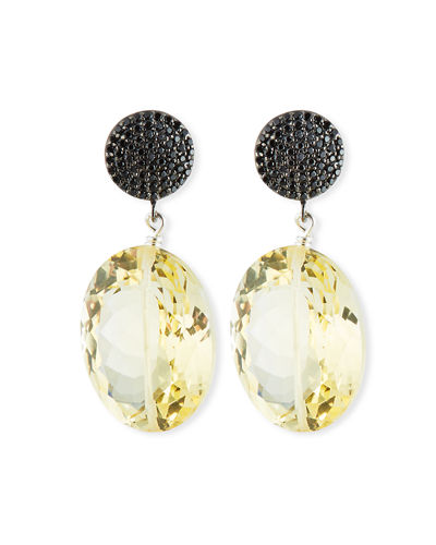 Margo Morrison Baroque Pearl Drop Earrings with Black Spinel