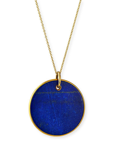 18K Nova Large Disc Pendant Necklace in Mother-of-Pearl or Lapis
