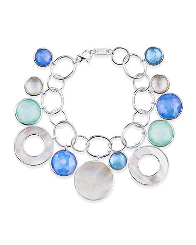 Wonderland Chain & Stone Drop Bracelet in Brazilian Blue