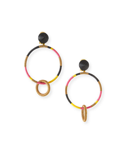 Cord-Wrapped Hoop-Drop Earrings