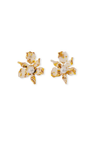 Lele Sadoughi Small Crystal Lily Drop Earrings