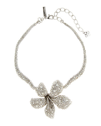 Pave Crystal Flower Necklace