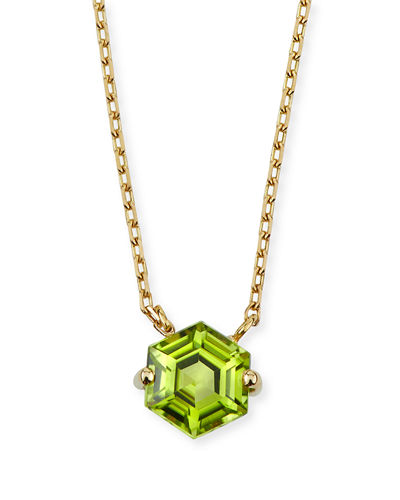 Amalfi 14k Gold Hexagon Pendant Necklace, Citrine/Topaz/Peridot