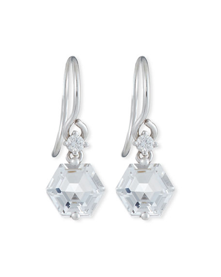KALAN by Suzanne Kalan Bloom 14k White Gold Hexagon-Cut Dangle Earrings, Topaz