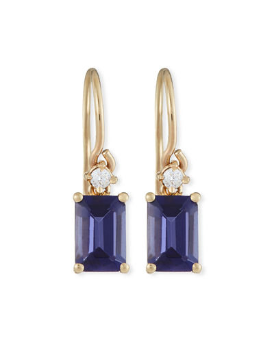 Bloom 14k Yellow Gold Emerald-Cut Dangle Earrings, Iolite/Topaz