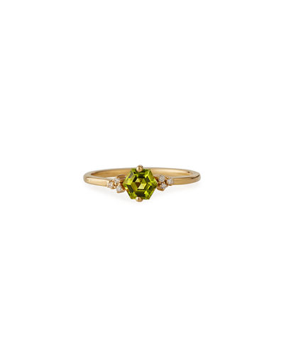 Bloom 14k Yellow Gold Hexagon Ring w/ Diamonds, Size 4-8.5