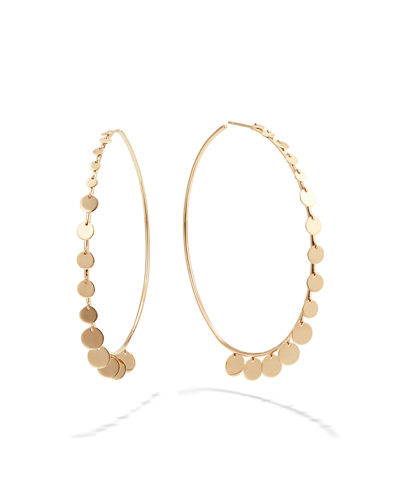 14k Gold Dangle Disc Hoop Earrings, 60mm