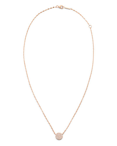 14k Diamond Pave Disc Pendant Necklace