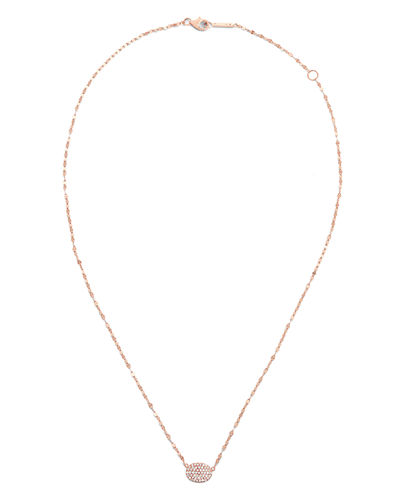 14k Diamond Pave Oval Pendant Necklace