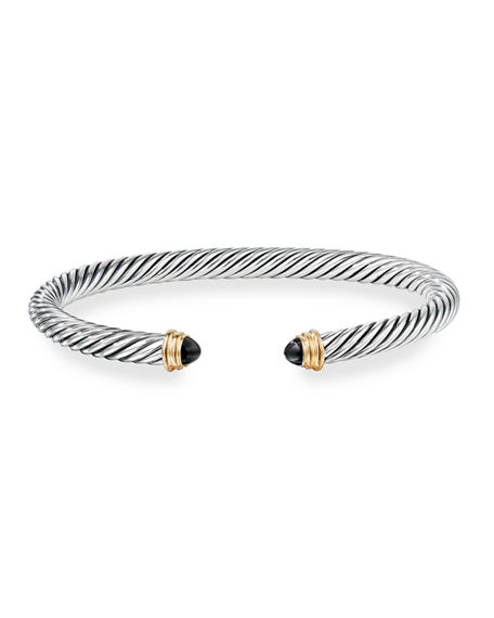 Image 2 of 4: David Yurman Cable Classics Bracelet with Semiprecious Stones & 14K Gold, 5mm