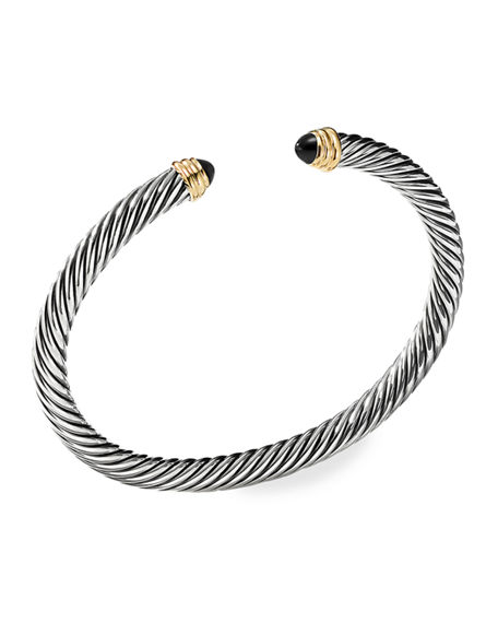 Image 1 of 4: David Yurman Cable Classics Bracelet with Semiprecious Stones & 14K Gold, 5mm