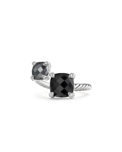 Châtelaine Sterling Silver Bypass Ring with Diamonds
