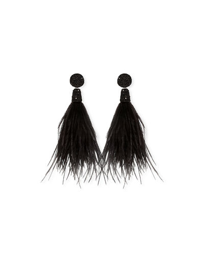 Suzanna Dai Feather Tassel Drop Earrings