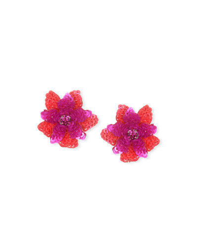 Oaxaca Sequin Flower Stud Earrings